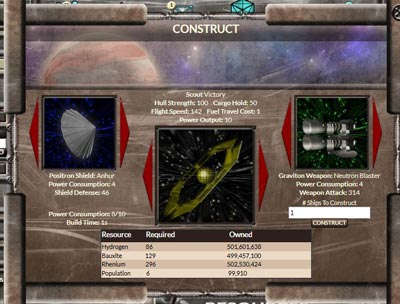 Building ships dialog box for Conquest Alpha game by Alpha Centauri Games