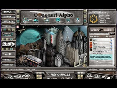 User Interface design with planet view for Conquest Alpha game by Alpha Centauri Games